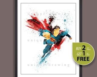 Superhero print, Superhero poster, Superman print, Superman poster, Superman painting, Superhero wall art, Kids Decor, Nursery Decor, 3502