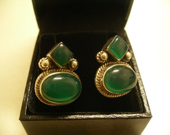 Vintage Silver and Chrysoprase Scandinavian Earrings