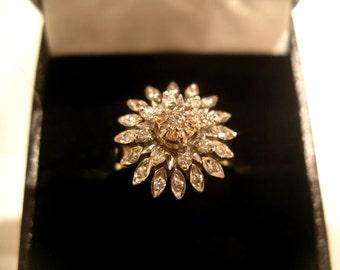 Flower Vintage Diamond Ring in 9K Yellow Gold