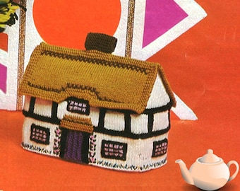 Instant PDF Download Vintage Knitting Pattern to make An English Thatched Cottage Tea Cosy Cozy Country Kitchen Style