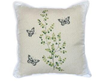 Fern & Friends Pillow - 18x18 - Fern, Green, Black Butterflies, Pillow Included, 1024P