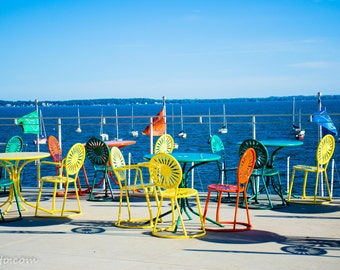 Memorial Union Sunprint Chairs, Lake Mendota, University of Wisconsin, Madison, Terrace view with lone chairs