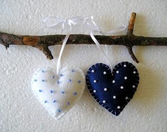 Hearts, Felt Ornament,  Handing, home decor, felt heart, valentines day, valentines heart, dark blue white, set of 2
