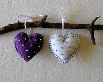 Felt Ornament Purple Hearts  Handing, home decor, felt heart, valentines day, valentines heart, love purple white, set of 2