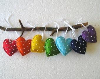 Rainbow Hearts - Felt Ornament- Heart Handing - Heart Decor -Valentines Day Decor - Gift Idea