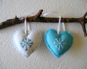 Blue And White Christmas Hearts Christmas Felt Ornament Handing Home Decor Felt
