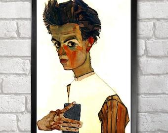 Egon Schiele Self-ie-Portrait Poster Print A3+ 13 x 19 in - 33 x 48 cm Buy 2 Get 1 Free