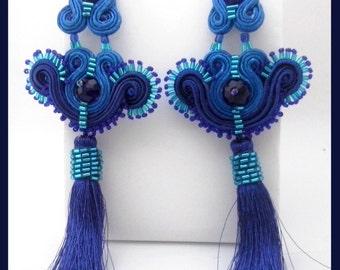 Blue ultramarine soutache earrings