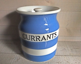 Vintage TG Green Cornishware Currant Jar, TG Green Blue White Striped Currant Canister, Black Shield Mark 1930s - 60s, Country Kitchen Decor