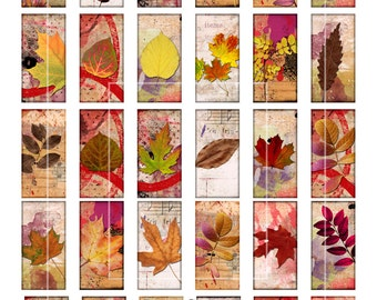 "Domino Clip Art, Fall Leaves, Digital Collage Sheet, Autumn Leaves, Jewelry Making, 1""x2"" Crafts, Digital Downloads, domino tiles"