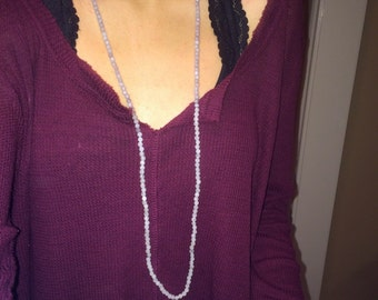 Double Wrap Half and Half Long Beaded Necklace