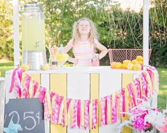 PINK  Lemonade Rag Tie Garland Banner, Lemonade Stand,Birthday Party Decor, Photo Prop Banner, Pink & Yellow, Girl's Room Decor, Baby