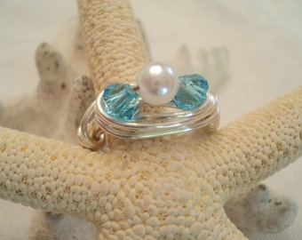 Turquoise Ring, Pearl Ring, Wire Wrapped Ring, Wrapped Ring, Boho Ring, Boho Jewelry, Wedding Jewelry, Bridesmaid Gifts