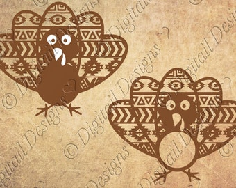 Aztec Turkey Monogram Frames SVG PNG DXF Eps Cut file for Silhouette Cut File For Cricut Thanksgiving Monogram Clipart Printable