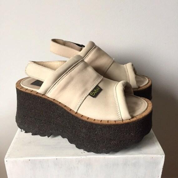 swear shoes sand white soft leather platform sandals size 39