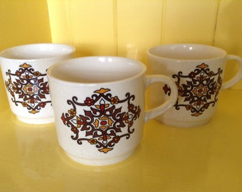Johnson of Australia cups, Aztec pattern, Made in Australia