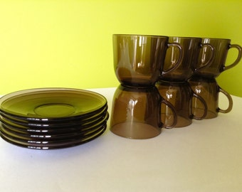 VERECO France 6 Smoked Glass Cups and Saucers Vintage 1970's