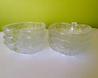 6 Vintage Glass Apple Bowls