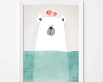 Poster print wall art. Illustration art print with cute polar bear. Kids and nursery wall art for instant download. Available in 3 sizes.