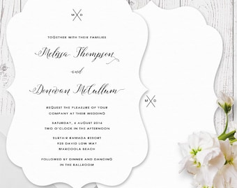 Black and White Monogram Wedding Invitation | Scallop Die Cut Shape | Printed on Lux Double Sided Felt or Linen Cardstock | Australia