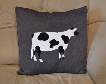Cow Print Cushion Pillow Cover Handmade Decorative 16x16 Black White COw Print Boy Girl Gift