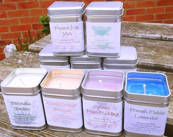 Scented soy wax candles - in aluminium tin
