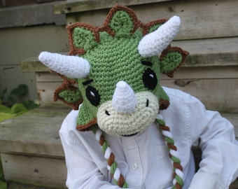 Handmade Crocheted Triceratops Hat - made to order