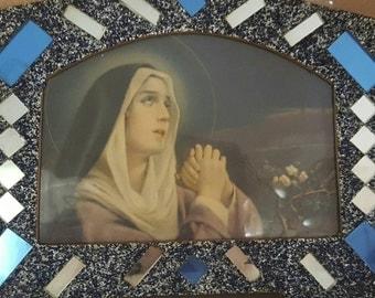 St.Theresa, the Little Flower, 1930s,Gorgeous Art Deco Frame, Altered art.