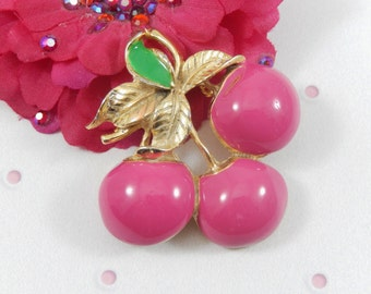 Vintage MJENT Signed Gold Tone Hot Pink Cherries Brooch Pin