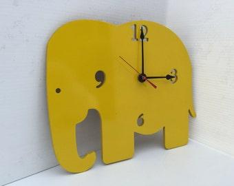 Elephant kids clock, Nursery clock, Fun clock,Handmade clock, Unique clock, Wooden clock, Childs clock