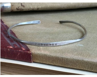 I love you I know 2-Piece Set Cuff Thin Stacking Bracelet Personalized Custom Order Adjustable Handmade Brushed Distressed
