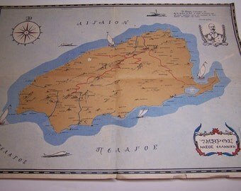 vintage greek map of Imvros (Imbros, Imroz)