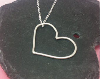 Mothers Day Necklace Big Heart Sterling Silver Necklace Gifts for mum Valentines Gifts for Her Handmade Sterling Silver Heart