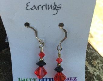 Red-Black Earrings