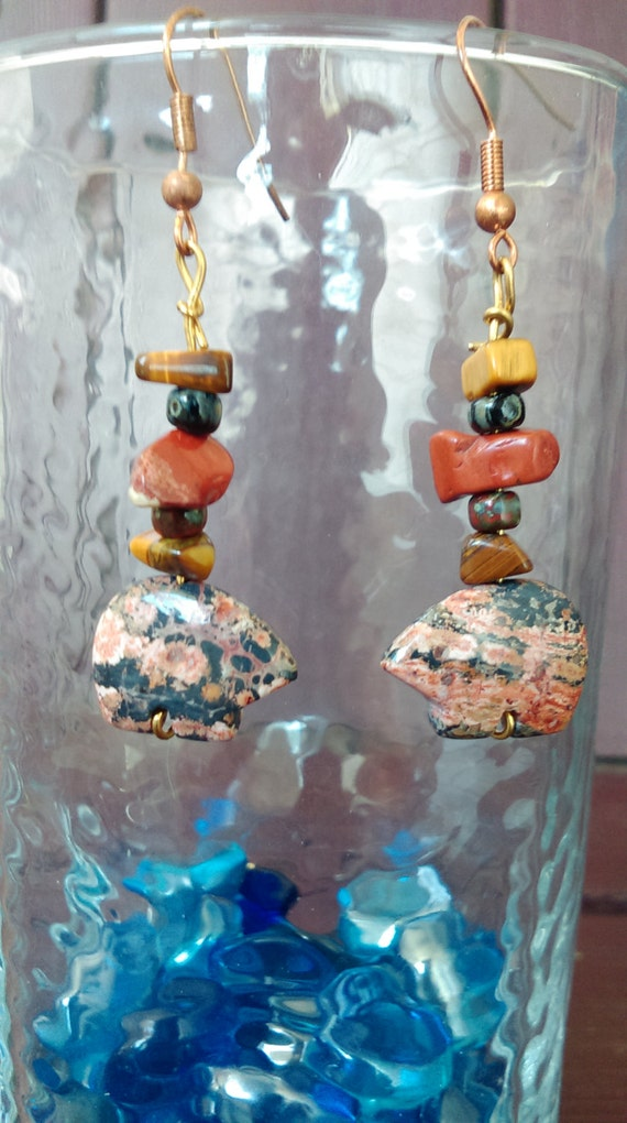Jasper stone carved Bear Dangle Earrings