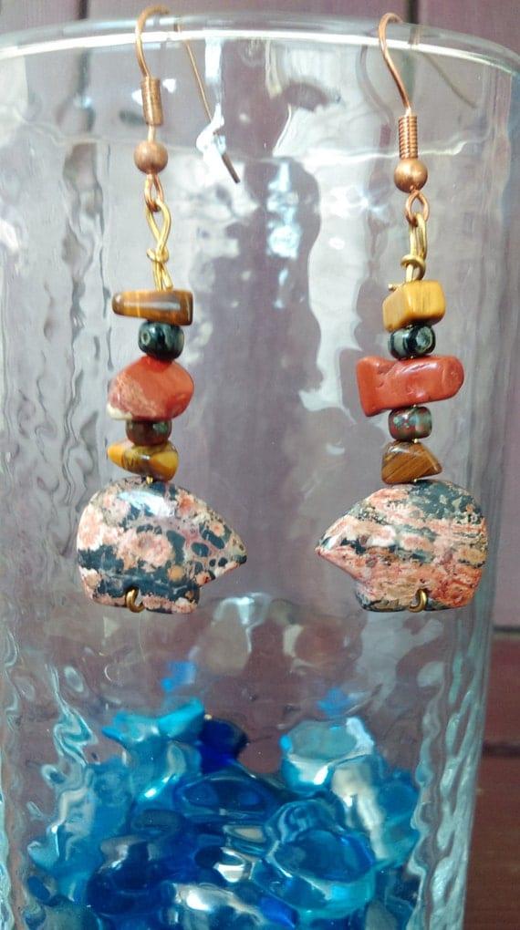 Jasper stone carved Bear Dangle Earrings