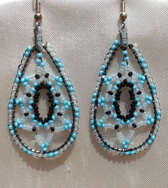 Big Beaded Baby Blue Teardrop Czech Glass Seed Bead Earrings