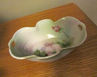 Noritake  unique vintage dish bowl made in Japan rectangular shaped floral green pink