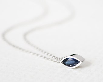 Marquis Sapphire Necklace 925 Sterling Silver Tiny Charm Modern Jewelry September Birthstone