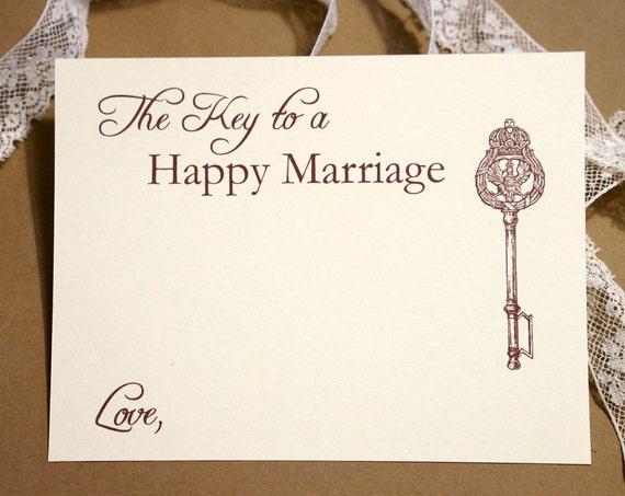 Happy marriage wedding advice cards vintage key marriage advice