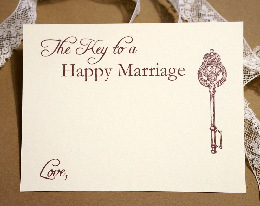 Key to a happy marriage wedding advice cards by agiftfordesign