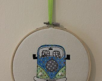 Campervan in Embroidery Hoop