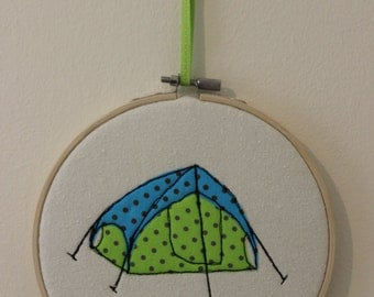 Tent in Embroidery Hoop