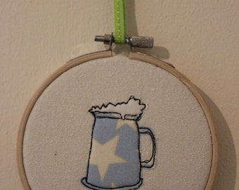 Beer Tankard in Embroidery Hoop