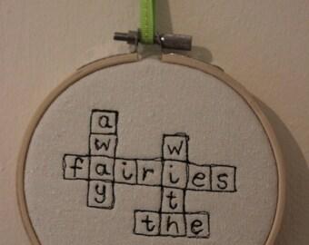 Away With The Fairies Scrabble Art Hoop