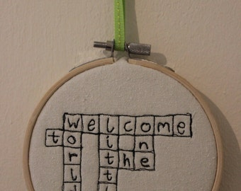 Welcome to the World Little One Scrabble Art Hoop