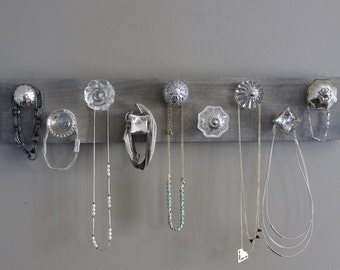 Jewelry organizer, necklace holder, jewlery holder, 9 knob necklace organizer for wall, hanging jewelry, silver and crystal, bedroom wall