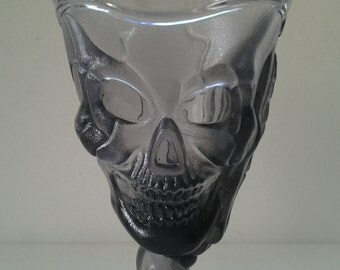 Three skeleton glasses / Halloween goblets / Skull glasses
