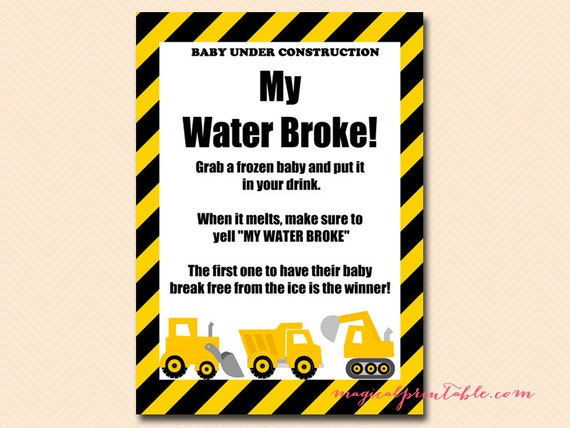 my water broke frozen baby ice cube game construction baby shower