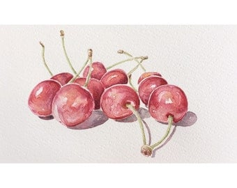 Cherries watercolor painting - kitchen art cherry - original art - watercolor art fruits - still life cherry watercolor